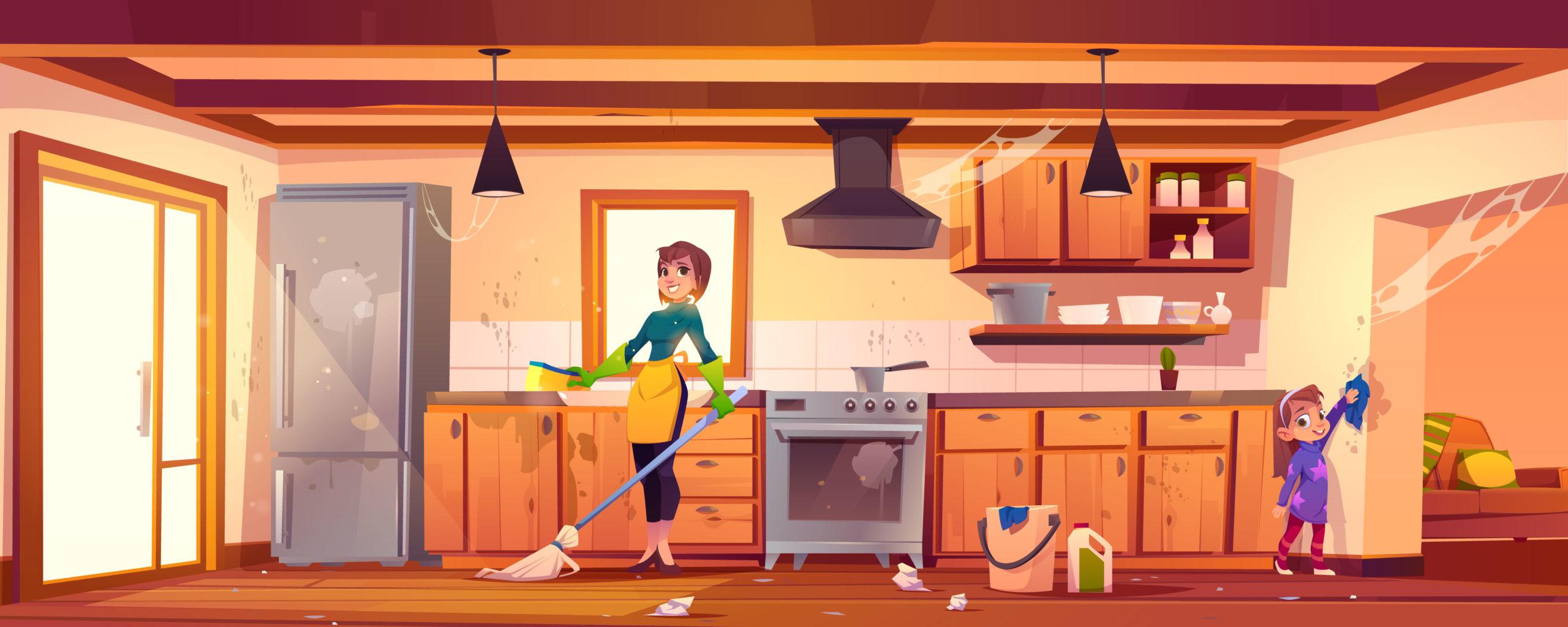 自宅を家族みんなで大掃除