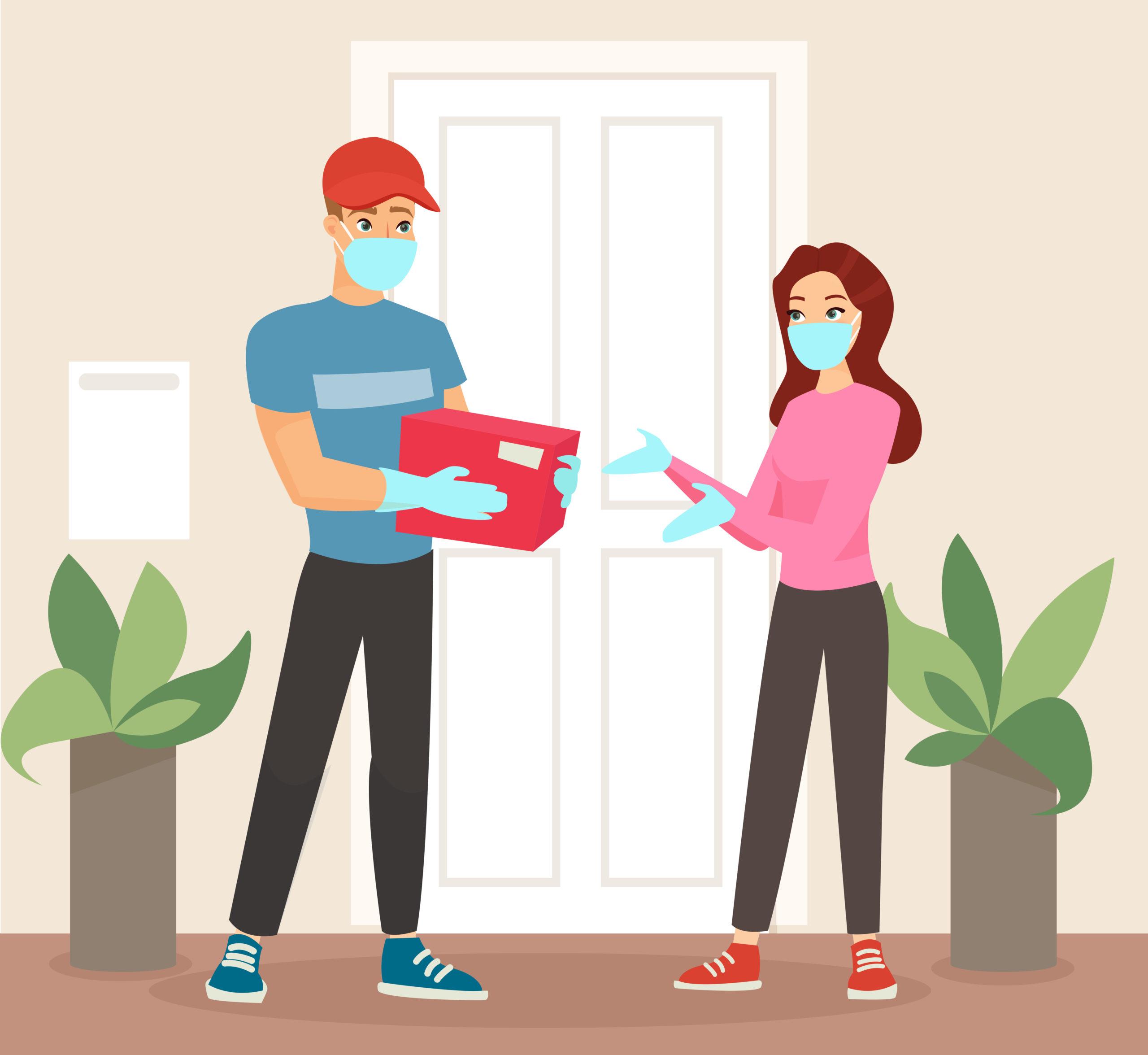 外出自粛中の自宅での宅配業者との接し方