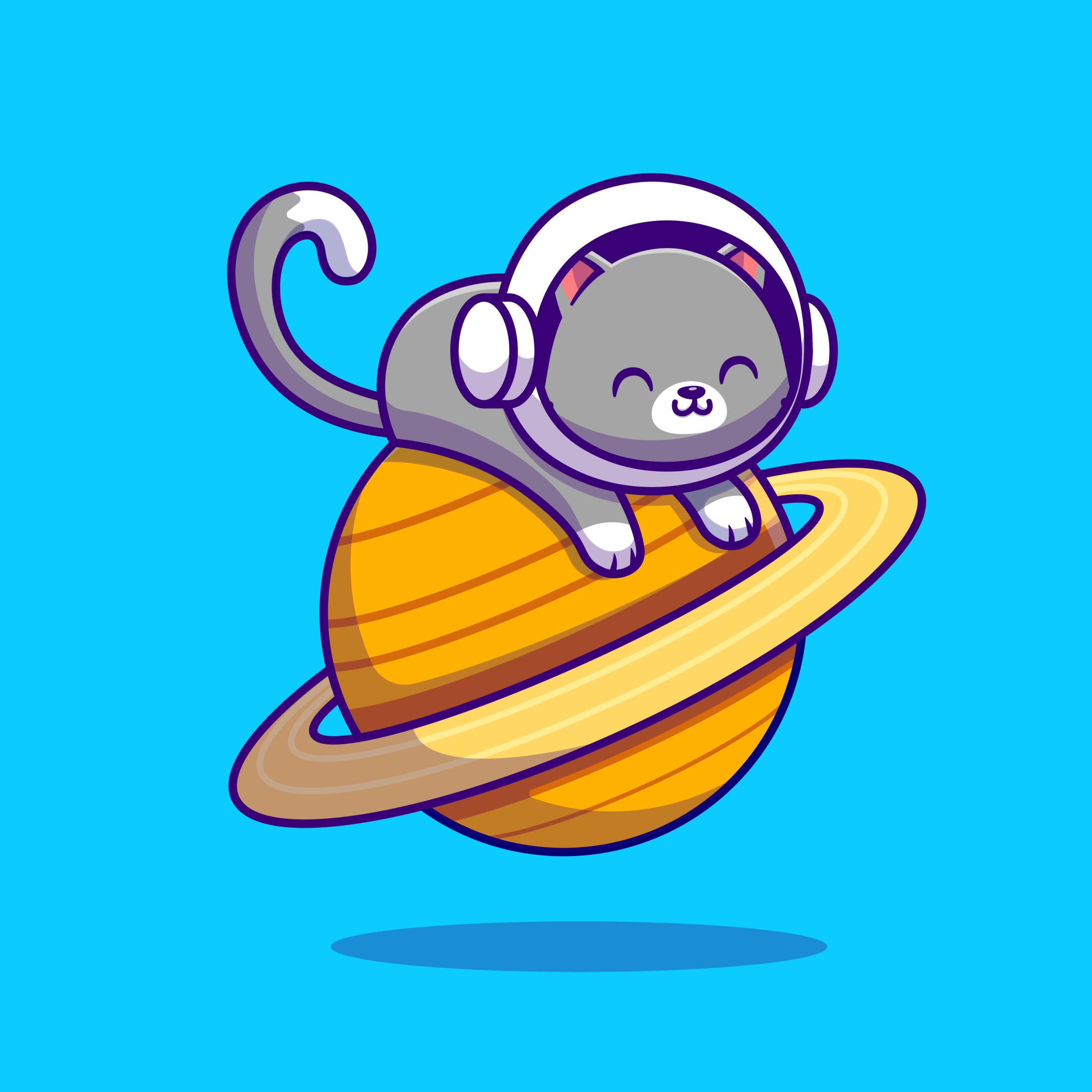 惑星に横たわっているかわいい宇宙飛行士の猫