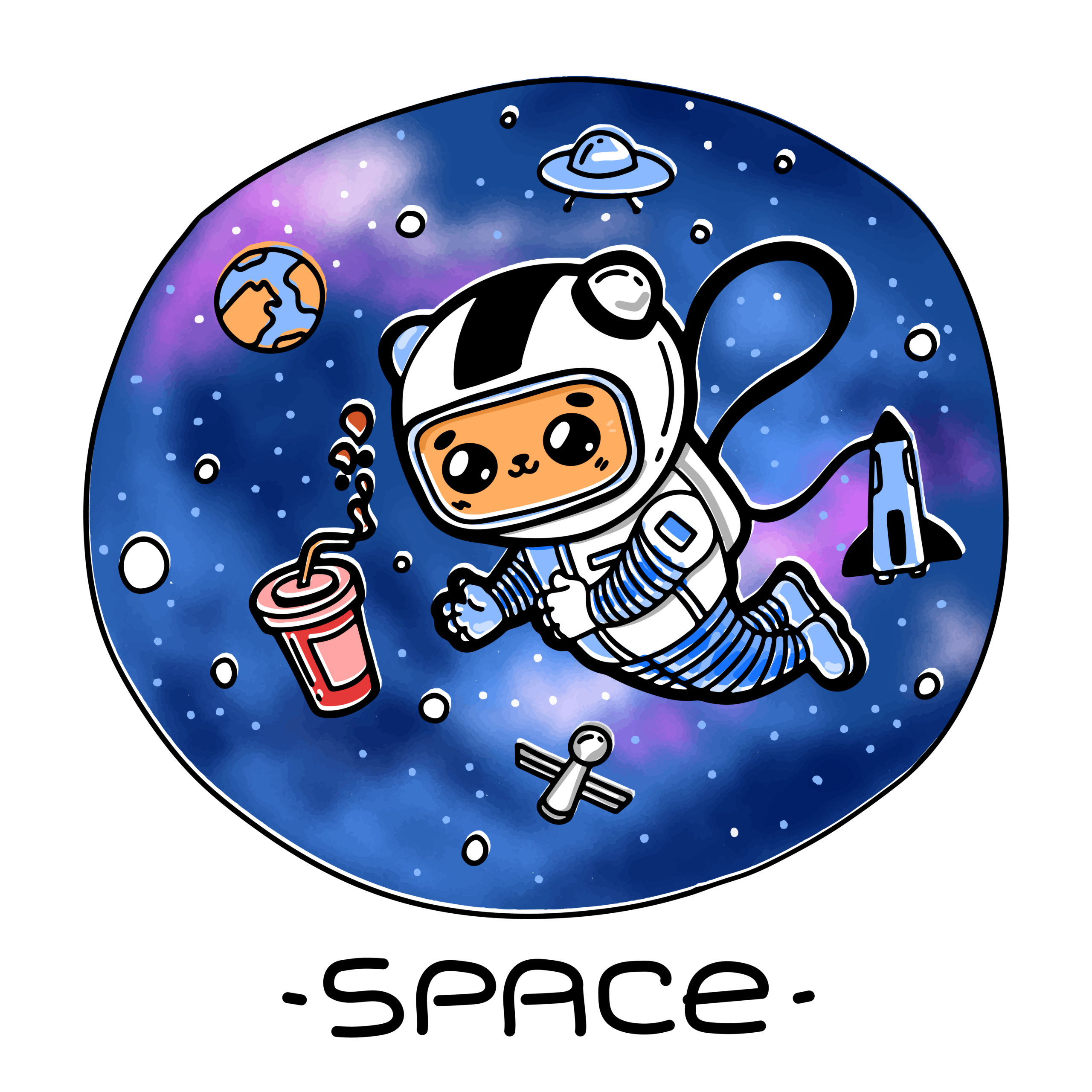 猫が宇宙のコーラに手を伸ばす。カラフルな面白いキャラクター