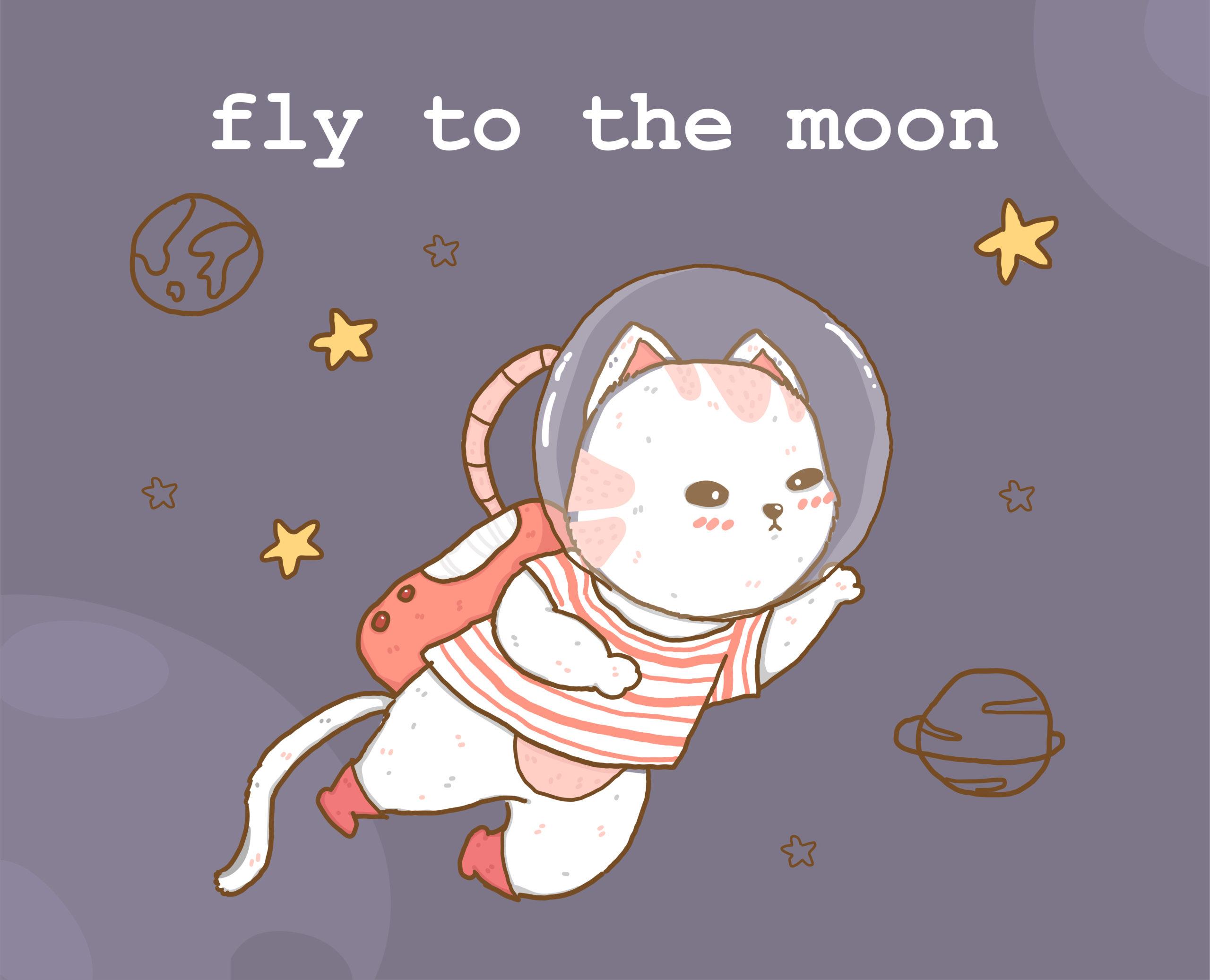 かわいい天体猫が星と惑星に囲まれた銀河を飛ぶ
